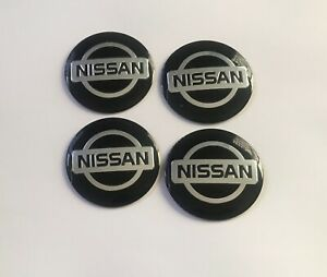 Set of 56mm BLACK&CHROME Domed Wheel Centre Cap Cover Stickers For Car NISSAN