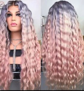 Natural Root Women Synthetic Lace front ombre Pink Curly Wavy Long Hair Gray Wig