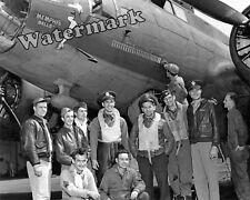 Photograph WWII B-17 Flying Fortress Memphis Belle & Crew 25th Mission 1943 8x10
