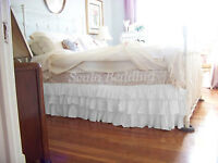 Multi Ruffle Bed Skirt 100% Cotton Solid White All Sizes & Drop Length Queen/Kin