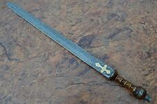 Damascus Sword,Custom Handmade ROMAN GLADIUS SWORD.ROSE WOOD & BRASS SPACERS