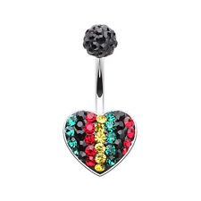 Rasta Jamaican Heart Multi-Sprinkle Dot Belly Button Ring