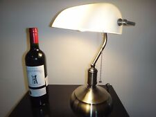 Classic White Bankers Desk Lamp Pulling Switch Vintage Antique Style Light