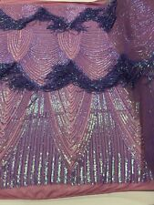 Iridescent Lilac Sequin Fringe Lilac 4 Way Stretch Sequin Fabric By The Yard