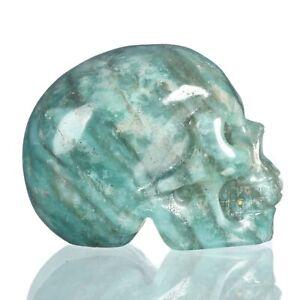 "1.57""Natural Amazonite Carved Skull Metaphysic Healing Power #33Q31"