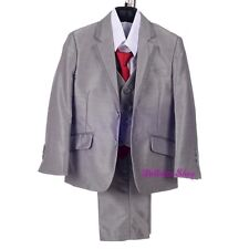 5pcs Set Tuxedo Suits Formal Outfit Wedding Party Silver Gray Size 2T-7 ST036A