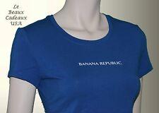 NWT Banana Republic Women XS X-SMALL Blue Basic Tee w Logo T-Shirt Top Blouse