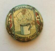 Australian Comforts Fund - Coffee Cup - Wwi Era Pinback - Rare!