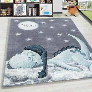 Kurzflor Kinderteppich Dino Wolke Kinderzimmer Babyzimmer Teppich Soft Grau Blau