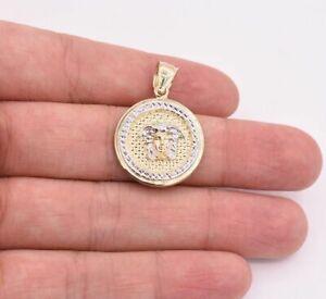 """1 3/8"""" Medusa Diamond Cut Round Medallion Pendant Real 10K Yellow White Gold"""