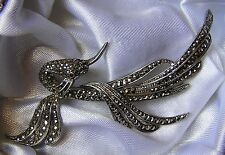 VINTAGE 1950s BROOCH CONTINENTAL 800 SILVER MARCASITE BIRD OF PARADISE f