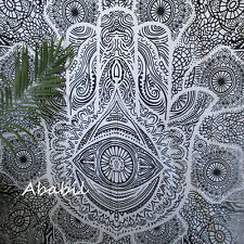 Queen Fatima Hand Hamsa Tapestry Hippie Black & White Urban Decor Bedspread Art