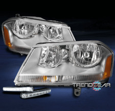 FOR 2008-2014 DODGE AVENGER REPLACEMENT CHROME HEADLIGHTS LAMPS W/DRL LED SIGNAL