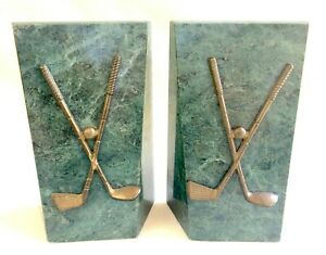 Pair of Heavy Green Marble Book Ends, Brass Golf Clubs - Golfers