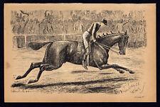 DISTURBANCE WINS 1883 Finch Mason - Horses LITHOGRAPH