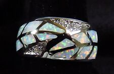 "Sterling 925 Silver SF Size 5 Ring White Lab Fire Opal & White Topaz 3/8"" Wide"