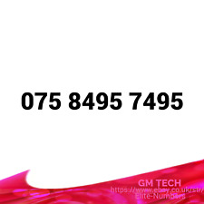 075 8495 7495 EASY MOBILE NUMBER PAY AS YOU GO SIM CARD UK GOLD PLATINUM VIP