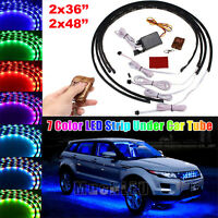 4pcs 7 Colors LED Strip Under Car Tube Underglow Underbody System Neon Light Kit