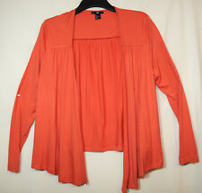 CORAL ORANGE WRAP TOP BLOUSE SIZE L H&M STRETCH JERSEY CASUAL
