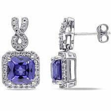 Amour Sterling Silver 7 1/10 Ct Created White Sapphire and Tanzanite Earrings