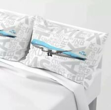 KLM 747-400 with Airport Codes - King Set of Pillow Shams