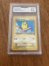 Pokemon Graded 8.5 GMA 2001 Surfing Pikachu #28 Black Star Promo