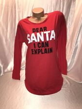 "Victoria's Secret Sleep Shirt Pajamas Nightie "" Dear Santa "" Long Sleeve Red XL"