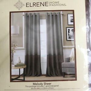 Elrene Home Fashions Melody Gray Color Block Grommet Curtain Panel, 52x84, NEW