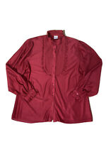 Vintage Target Plus Size Women's Red Ruffled Button Up Shirt Size 18