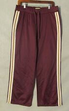 W5639 Juicy Couture Womans Large Maroon/White/Yellow Drawstring Track Pants