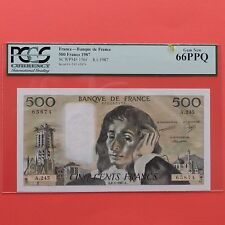 1987 France 500 Francs, Pick # 156f, PCGS 66 PPQ Gem New