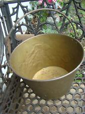 Antique American Brass Kettle Bucket market #1 bottom Rolled Steel Handle