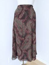 NWT $75 Chaps Brown Green Red Paisley Silky Poly Career Peasant Skirt 20W