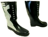LADIES WOMENS BLACK WELLIES WELLINGTON BOOTS FLAT RAIN WATERPROOF  BOOT SHOES