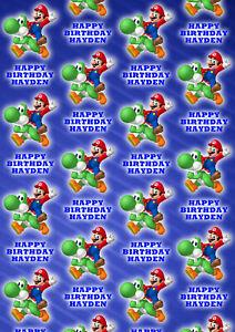 SUPER MARIO Personalised Gift Wrap - Super Mario Nintendo Wrapping Paper - D2