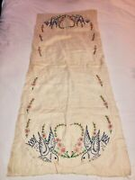 VTG 2PC HAND EMBROIDERED BLUE BIRDS FLORAL LINEN TEA CLOTH FABRIC UNFINISHED