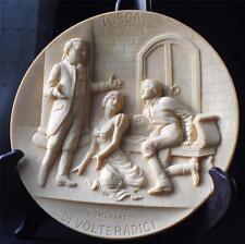 1981 Studio Dante Volteradici Ivory Alabaster Raised 3D Grand Opera Tosca Plate