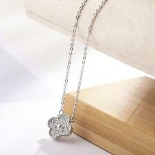 Flower Lucky Clover Pave Cubic Zirconia 925 Silver SP/Gold GP Pendant Necklace