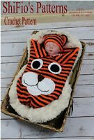 CROCHET PATTERN for TIGER COCOON PAPOOSE & HAT 3 SIZES #271 NOT CLOTHES