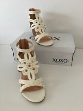 NEW Ladies XOXO Wedge Sandals Shoes White Zipper Back Entry (Sz. 8M) MSRP:$49.99