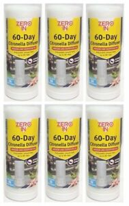 6 x Zero In 60 Day Fly & Insect Killer Citronella Diffuser Portable Repellent