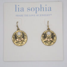 Lia sophia jewelry vintage gold tone cut crystals hammered drop circle earrings