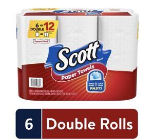 Scott Paper Towels, Choose-A-Sheet, 6 Double Rolls