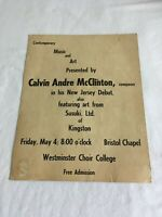 vintage cardstock concert poster ~ CALVIN ANDRE McCLINTON ~ 11x14 inches