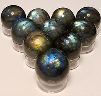 30-50mm Natural Labradorite Feldspar quartz crystal sphere ball (1 ech) w/ stand