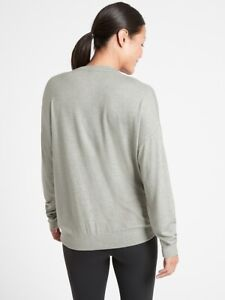 Athleta Sage Heather Mindful Pullover Large Tall NEW! Travel Commute