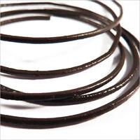Condon de CUIR Naturel 1,5mm Marron foncé 2 Mètres pour Colliers et Bracelets