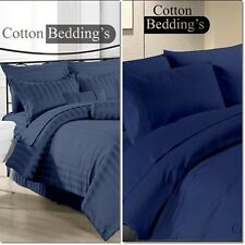 UK Size 1000 TC 100% Egyptian Cotton Hotel Navy Blue Solid/Striped Duvet/Sheet