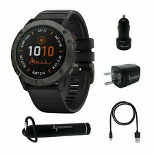 Garmin Fenix 6X Titanium Carbon Gray Dlc with Black Band Multisport Gps Watch