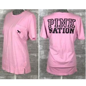 Victoria's Secret Pink Nation Dog Graphic Campus Tee T-Shirt Pocket XS fits S M